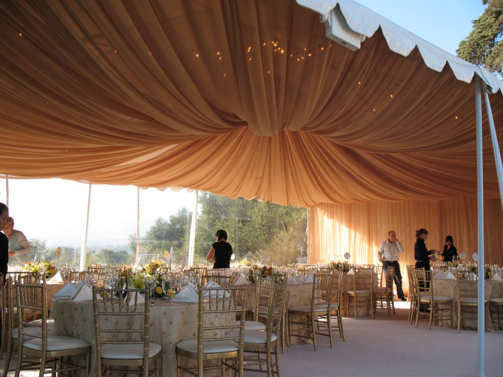 ideas to drape a ceiling - Gold Chiffon Full Ceiling Swag in Canopy Bella Vista Designs