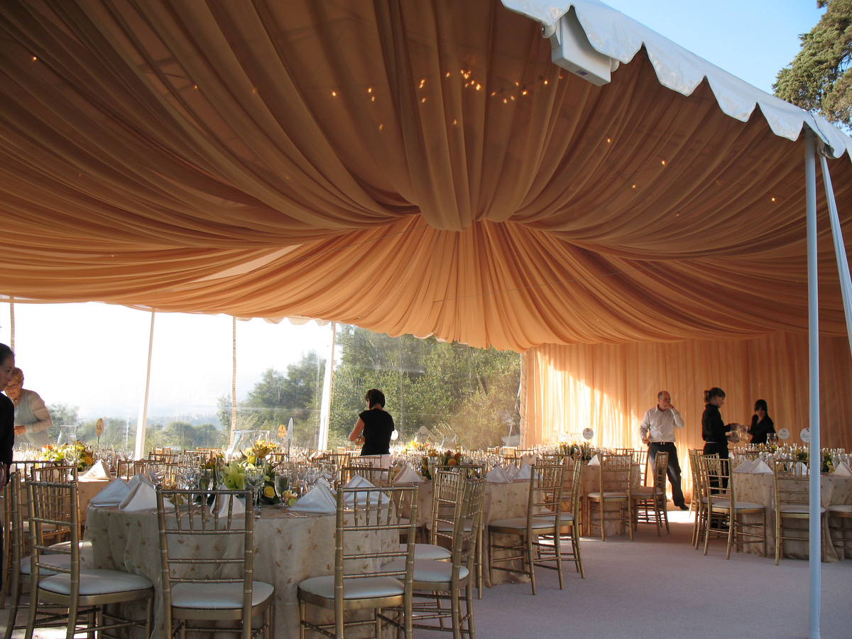 Gold Chiffon Full Ceiling Swag In Canopy Bella Vista Designs
