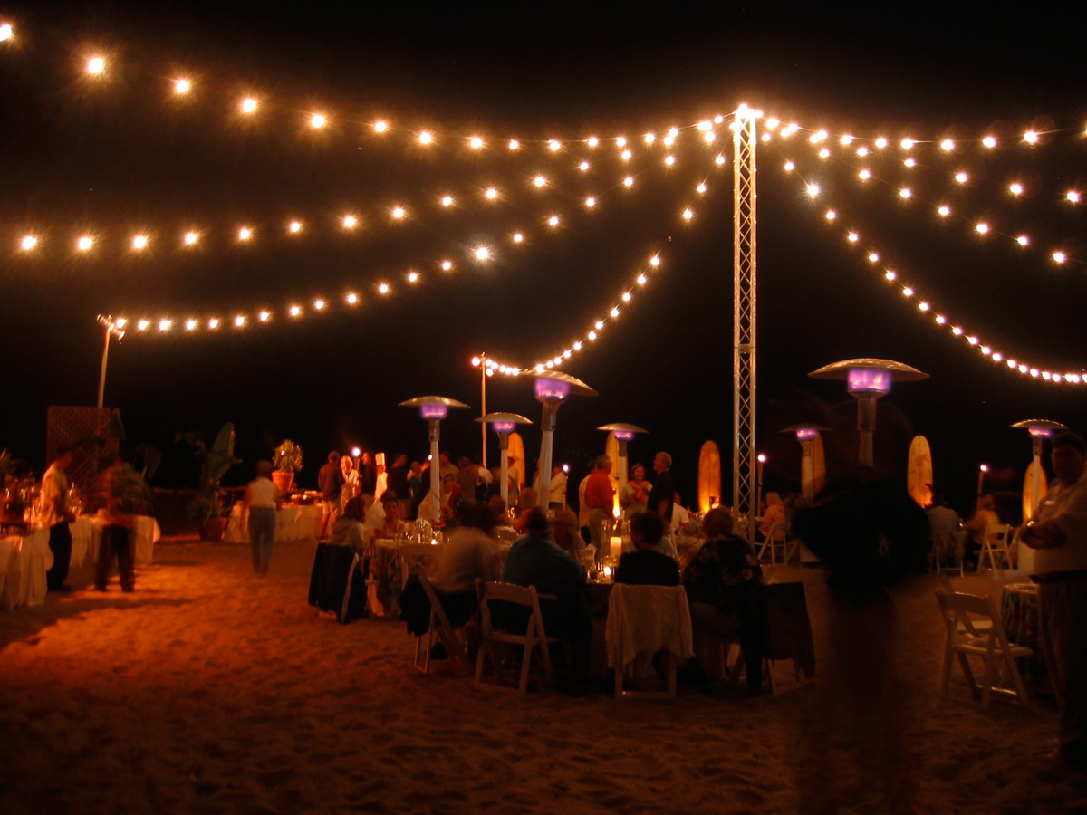 Beach String Lights from Freestanding Truss Tower - Bella Vista Designs