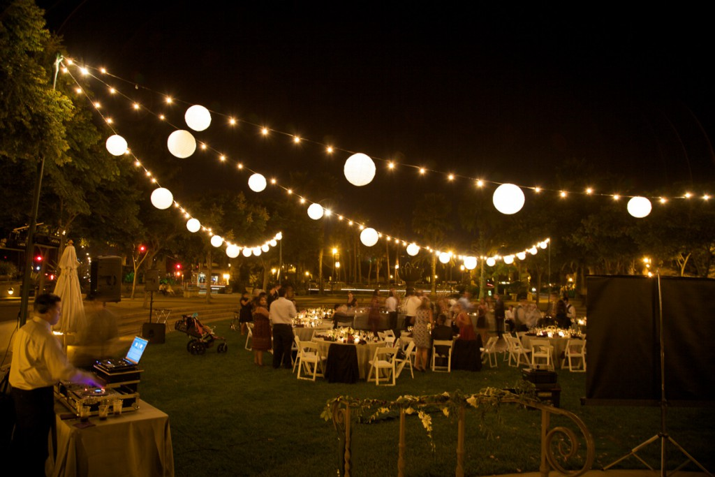 Chase Palm Park U2013 String Lighting With Paper Lanterns