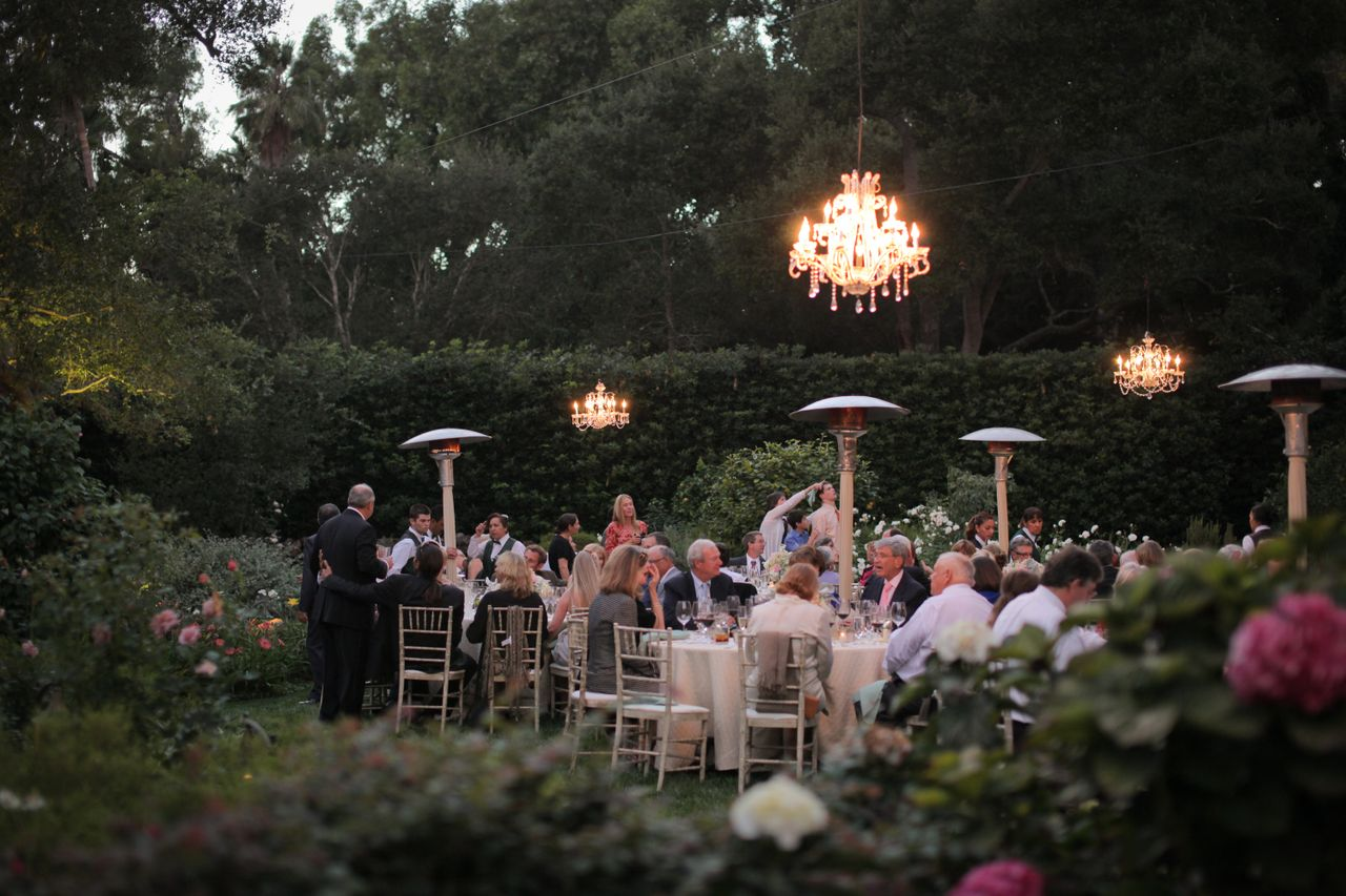 Backyard Wedding with Medium and Small Crystal Chandeliers  Bella